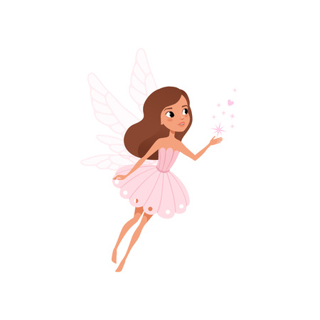 Illustration pour Cartoon fairy girl flying and spreading magical dust. Brown-haired pixie in cute pink dress. Fairytale character with little wings. Colorful flat vector illustration isolated on white background. - image libre de droit