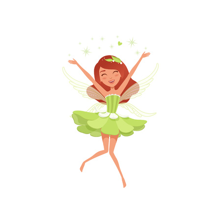 Illustration for Magical fairy in beautiful green dress. Happy girl spreading pixie dust. Imaginary fairytale character with little wings. Mythical creature. Cartoon flat vector design - Royalty Free Image