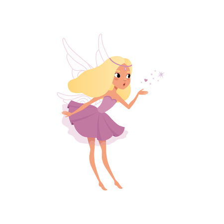 Illustration pour Cute fairy with long blond hair spreading magical dust. Pixie girl in fancy purple dress with wings. Little mythical creature. Imaginary fairytale character. Flat vector design isolated on white. - image libre de droit