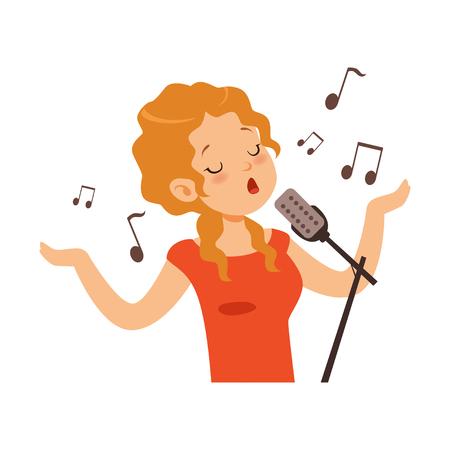 Ilustración de Girl singing with microphone, singer character cartoon vector Illustration on a white background - Imagen libre de derechos