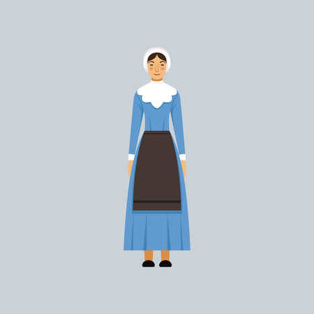 Illustration for Mennonite or amich woman in traditional blue dress, representative of religious confession vector Illustration - Royalty Free Image