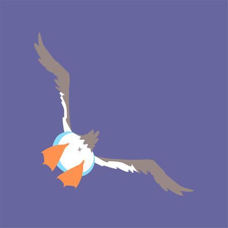 Funny seagull flying, cute comic bird character cartoon vector illustration