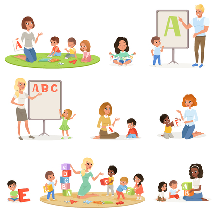 Set of children doing speech therapy with teachers. Child development center. Kids alphabet letters through play. Educational game concept. Flat vector design for poster, flyer, brochure, infographic.