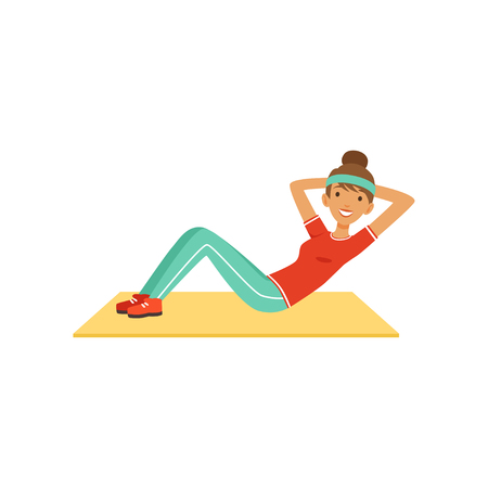 Illustration pour Sportive young woman character doing an abdominal crunches, girl working out in the fitness club or gym colorful vector Illustration isolated on a white background - image libre de droit