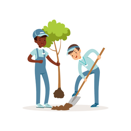 Illustration pour Two kids planting tree. Boys in working overalls and caps. One kid holding seedling in his hand, other digging pit with shovel. Gardening concept. Cartoon volunteers characters. Flat vector design - image libre de droit