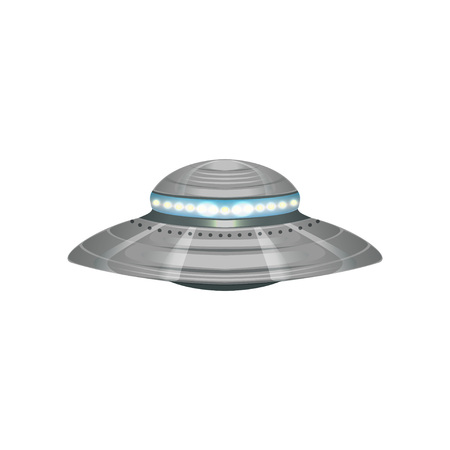 Ilustración de Cartoon alien flying saucer. Extraterrestrial space ship. UFO theme. Detailed silver or metallic martian vessel with blue lights. Colorful vector design in flat style isolated on white background. - Imagen libre de derechos