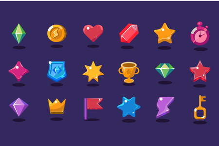 Illustration pour Set of various items for gaming interface. Crystal, coin, heart, star, stopwatch, shield, trophy, crown, flag, lightning, key. Design elements for mobile arcade and casual games Flat vector icons - image libre de droit