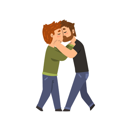 Couple of gay men embracing and kissing, lgbt men in love cartoon vector Illustration