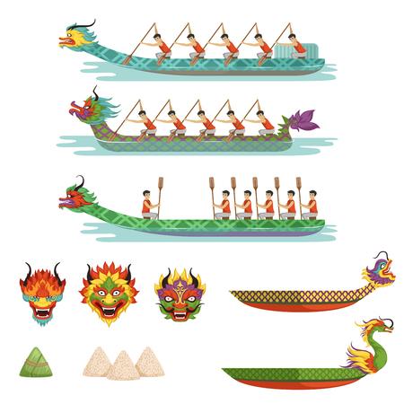 Ilustración de Dragon boats set, team of male athletes compete at dragon boat festival vector illustrations. - Imagen libre de derechos