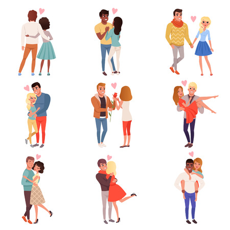 Illustration for Young men and women characters in love hugging set, happy romantic loving couples cartoon vector Illustrations - Royalty Free Image