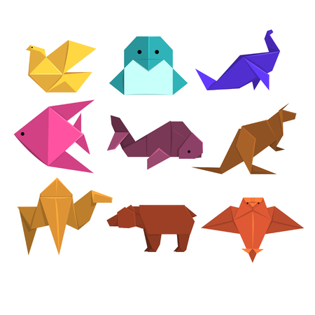 Illustration for Animals origami set, animals and birds made of paper in origami technique vector Illustrations - Royalty Free Image