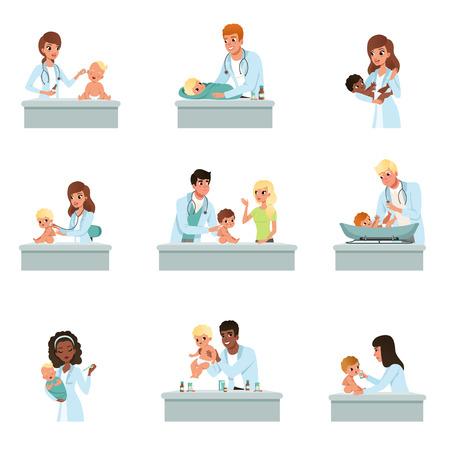 Foto de Pediatrician doctors doing medical examination of babies set, male and female doctors checkup for little kids vector Illustrations on a white background - Imagen libre de derechos