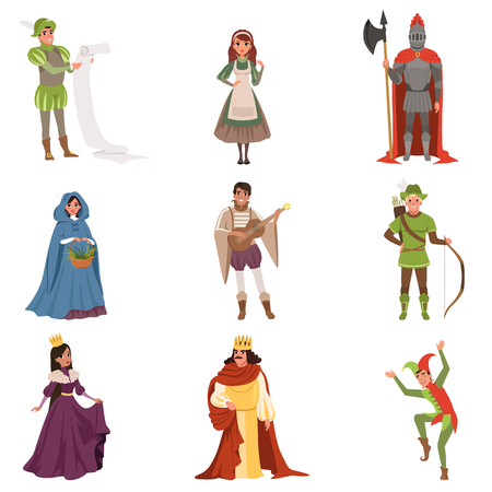 Illustration pour Medieval people characters of European middle ages historic period vector Illustrations on a white background - image libre de droit