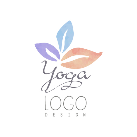 Watercolor logo template for yoga class or meditation center