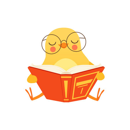 Illustration pour Cute baby chicken in glasses sitting on the floor and reading a book, funny cartoon bird character vector Illustration on a white background - image libre de droit
