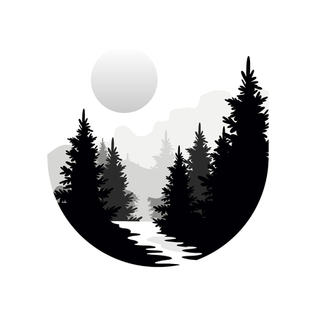 Illustration pour Beautiful nature landscape with silhouettes of forest coniferous trees, mountains and sun, natural scene icon in geometric round shaped design, vector illustration in black and white colors - image libre de droit