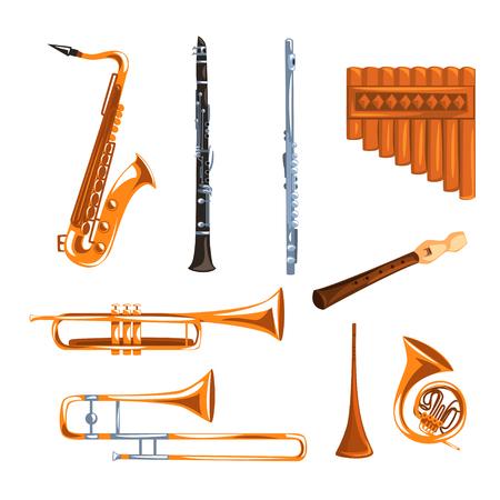 Illustration pour Musical wind instruments set, saxophone, clarinet, trumpet, trombone, tuba, pan flute vector Illustrations i on a white background - image libre de droit