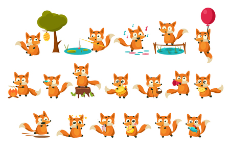 Illustration pour Cute fox cub character doing different activities set, funny forest animal in different situations vector Illustrations on a white background - image libre de droit