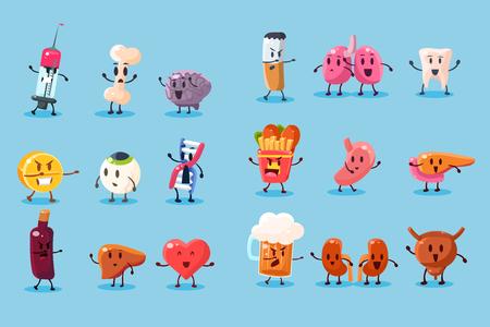 Illustration for Set of bad habits and unhealthy human organs character illustration. - Royalty Free Image
