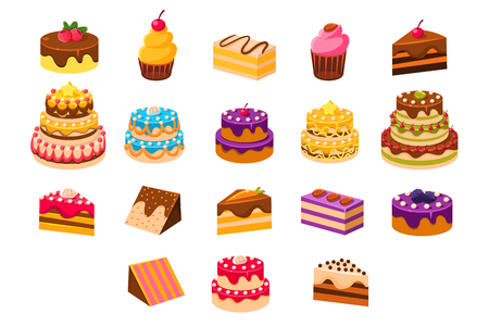 Ilustración de Cakes sett, sweet dessetrts, baked cakes and cupcakes made of cream, biscuit, chocolate and berries vector Illustrations on a white background - Imagen libre de derechos