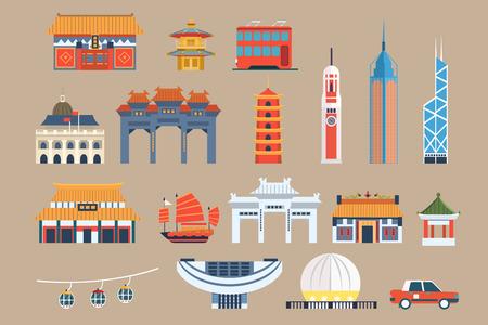 Illustration pour Symbols of Hong Kong sett, Chineset landmarks, travel elements vector Illustrations on a beige background - image libre de droit