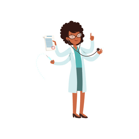 Multitasking african american doctor character, young woman with many hands vector Illustration on a white background