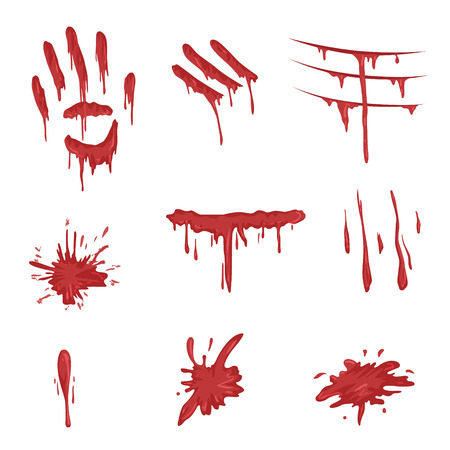 Blood spatters set, red palm prints, finger smears and stains vector Illustrations on a white background.