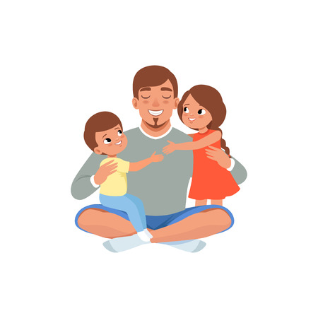Ilustración de Happy father with his two children , loving dad and kid spending time together vector Illustration isolated on a white background. - Imagen libre de derechos