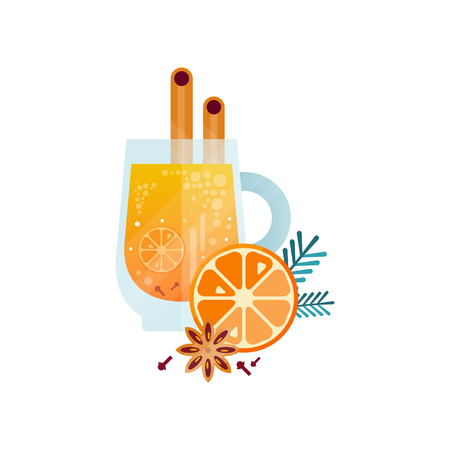 Illustration pour Vitamin healthy herbal tea, spicy drink with orange, cinnamon, anise and rosemary in transparent cup vector Illustration on a white background - image libre de droit