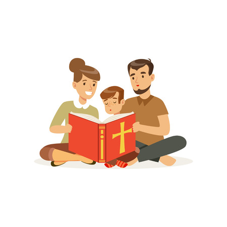 Illustration pour Mother, father and son sitting on floor and reading holy book. Religious family. Parents and child. Cartoon characters of Christian people. Flat vector design - image libre de droit