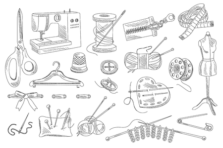 Illustration pour Vector set of hand drawn sewing and knitting icons. Mannequin, buttons, threads, sewing machine, scissors, pins, ribbon, pillow with needles, hanger, bobbin, centimeter, zipper - image libre de droit