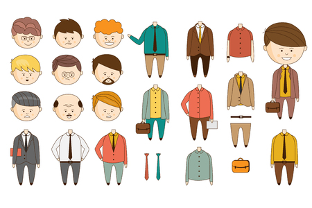 Illustration pour Man character constructor. Funny faces with various emotions. Bodies in different outfits. Flat vector - image libre de droit