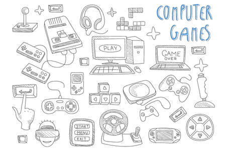 Illustration pour Set of doodle vector icons related to computer games. Joysticks, gaming controllers, computer and laptop. Gamer in virtual reality glasses. Electronic devices - image libre de droit