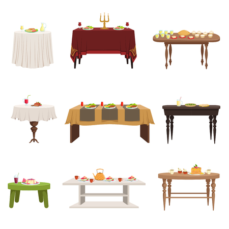 Vektor für Flat vector set of different types of dining tables with served food and drinks. Kitchen furniture. Elements for home or restaurant interior - Lizenzfreies Bild