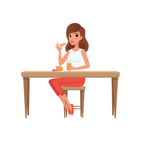 Illustration for Young woman having breakfast, people activity, daily routine vector Illustration isolated on a white background. - Royalty Free Image