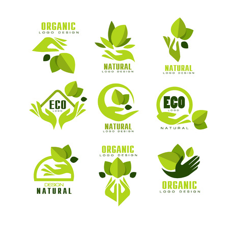 Eco, organic, natural logo design set, premium quality product label, emblem for cafe, packaging, restaurant, farm products vector Illustrations on a white background