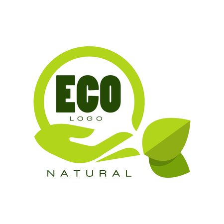Ilustración de Eco natural logo, premium quality label with green leaves and human hand, emblem for cafe, packaging, restaurant, farm products vector Illustration isolated on a white background. - Imagen libre de derechos