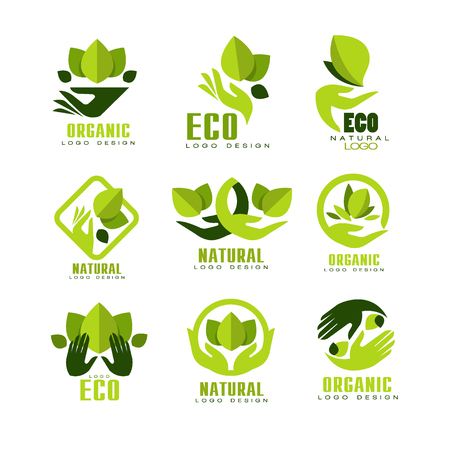 Eco, organic logo design set, premium quality natural product label , emblem for cafe, packaging, restaurant, farm products vector Illustrations on a white background
