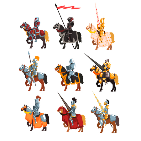 Illustration pour Flat vector set of royal knights in steel shiny armors. Cartoon warriors on horseback with weapon and flag in hands. - image libre de droit