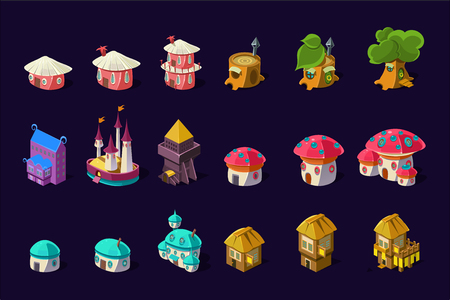 Illustration pour Collection of colorful buildings for online mobile game. Cartoon fairy houses in shapes of trees and mushrooms. Cute princess castle. Gaming resources. Flat vector icons isolated on purple background. - image libre de droit