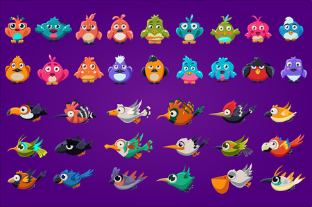 Ilustración de Collection of cartoon birds. Funny creatures with big shiny eyes. Gaming assets. Colorful graphic elements for computer or mobile game interface. Flat vector illustration isolated on purple background - Imagen libre de derechos