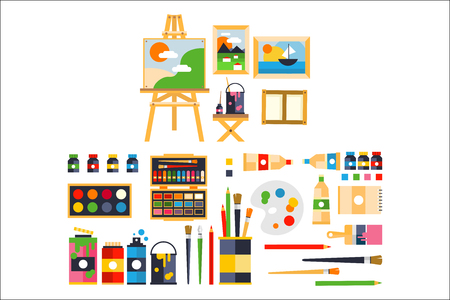 Illustration pour Artist painting tools and artistic materials for painting and creature set vector illustration - image libre de droit