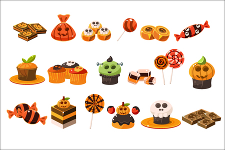 Ilustración de Colorful flat vector set of various Halloween sweets. Lollipops, delicious cupcakes and chocolate. Tasty desserts. Trick or treat - Imagen libre de derechos
