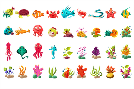 Photo for Sea creature big set, colorful cartoon ocean animals, plants and fishes vector Illustrations on a white background - Royalty Free Image