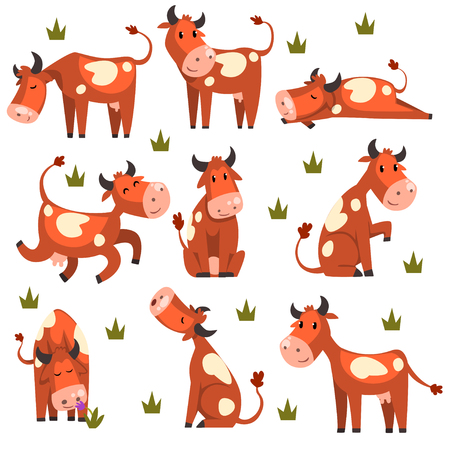 Ilustración de Brown spotted cow set, farm animal character in various poses vector Illustrations isolated on a white background. - Imagen libre de derechos