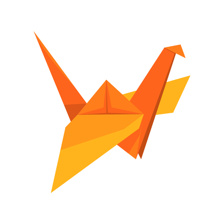 Ilustración de Orange crane bird made of paper in origami technique vector Illustration on a white background - Imagen libre de derechos