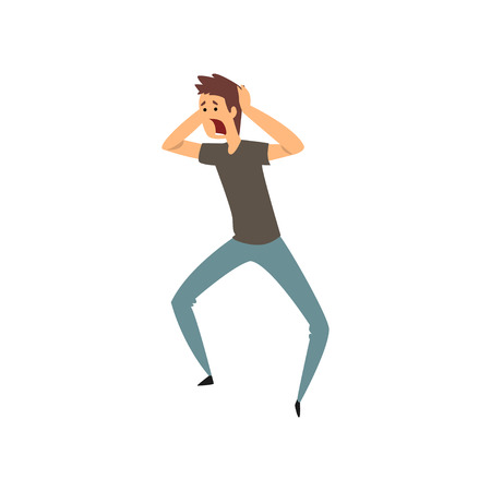 Illustration pour Aggressive man yelling vector Illustration on a white background - image libre de droit
