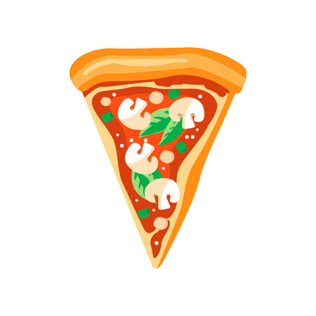 Illustration pour Triangle slice of pizza with mushrooms, basil leaves and ketchup. Fast food. Flat vector element for pizzeria menu or mobile app - image libre de droit