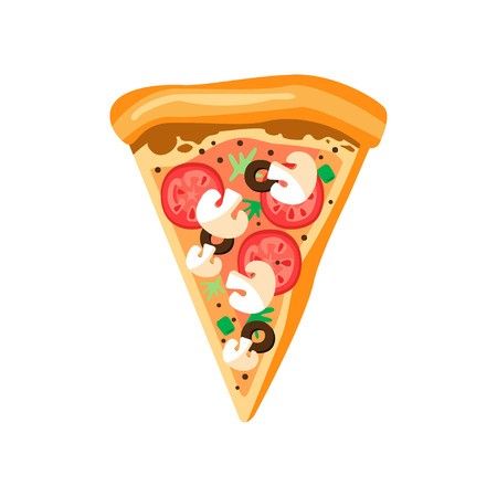 Illustration pour Triangle pizza slice with fresh vegetables and crispy crust. Tasty fast food. Flat vector element for cafe or pizzeria menu - image libre de droit