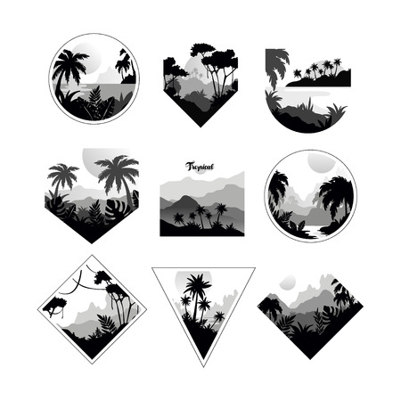 Ilustración de Collection of monochrome geometric tropical, badges with tropical trees, retro style design for banner, poster, placard, brochure vector Illustrations on a white background - Imagen libre de derechos